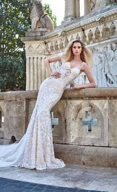 """Wedding Dress by Galia Lahav.  Our new campaign collection """"The Ivory Tower"""", crafted with art & love and inspired from the gothic & romantic middle ages setting is made for the modern bride of today and tomorrow!   Silhouettes and forms inspired by Gothic architecture, offers the modern bride a variety of dresses fit for a Queen.With this new collection Galia Lahav envisions her brides as princesses of a new era, ruling their Ivory Tower and running the show."""