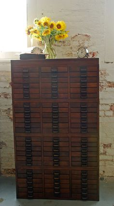 Beautiful Wood Vintage Document Storage Cabinet with 72 Drawers