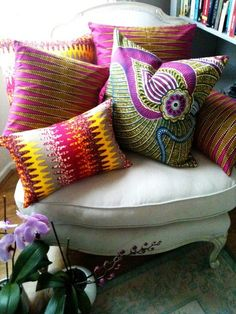Loving these gorgeously colourful cushions and pillows
