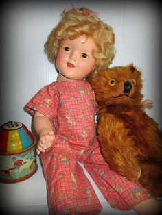 """Vintage Composition Shirley Temple Doll 18"""" Antique Doll Rare Brown Eyes Nice Condition 1930s"""