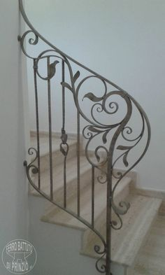 Wrought Iron Decor, Wrought Iron Porch Railings, Wrought Iron Stair Railing, Staircase Railings, Wrought Iron Gates, Exterior Handrail, Interior Stair Railing, Stair Railing Design, Home Room Design