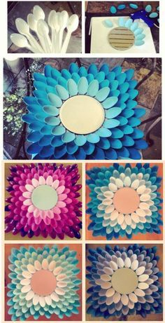 Diy ombre mirrors made out of spoons
