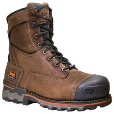 Timberland Pro Boondock 8'' Waterproof Safety Toe Work Boots for Men - Brown  Distressed