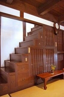 Stair Step Storage make this out of card catalogues and wood crates. in a smaller