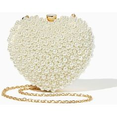 I Heart Pearls Clutch ($45) ❤ liked on Polyvore featuring bags, handbags, clutches, pearl handbag, evening clutches, chain strap purse, heart shaped purse and pearl purse