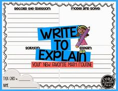Write to Explain: Your New Favorite Math Routine - and a freebie too!