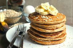 Banana Oatmeal Pancakes   These ones pack a filling punch from oatmeal and whole wheat flour, yet are light, fluffy, and a bit sweet from the 'nanas. @jessfuel