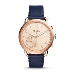 Fossil Q Tailor Dark Navy Leather Hybrid Smartwatch;  I don't necessarily want a smart watch. Just love the modern dark navy on classic leather and the thick band!