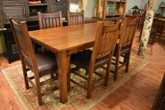 """Mission Style Solid Oak 72"""" Dining Table and Set of 6 Solid Oak chairs with Leather Seats"""