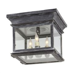 $692.90 Visual Comfort CHO4310WZ E.F. Chapman Club Small Square 3 Light Flush Mount in Weathered Zinc
