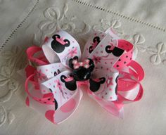 Minnie Mouse w Crown Pink Hair Bow -- Girls Hair Accessory -- Disney Trademark Character. $8.00, via Etsy.