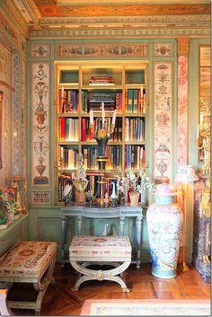 closeup of the illuminating book shelves