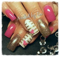 Acrylic nails with barbie pink gel Polish design, 3D sculpted mini hearts and glitter