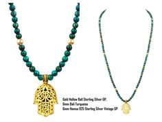 NIALAYA Gold Hollow Ball, 925 Sterling Silver, 14K Gold-Plated, 6 mm Bali Turquoise, 6 mm Hamsa, 925 Sterling Silver, 14K Vintage Gold-Plated £307