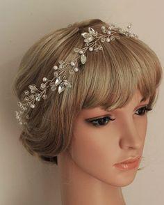 Halo headpiece, Rhinesrone Wedding hairpiece, Hand wired Bridal Wedding Crystal Crown, Flower Headband, Twisted Wire Pearl Tiara on Etsy, $58.00