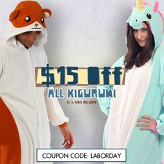 Happy Labor Day everyone! Today is the last day to take $15 off any Kigurumi, Kids Kigurumi and XL Kigurumi by using Coupon code LABORDAY.  www.kigurumi-shop.com  <3