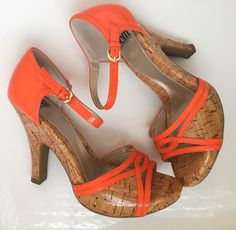 "SOFFT Sz 7 7M Orange Leather Strappy 4"" High Heels Cork Comfort Shoes Sandals #Sofft #OpenToe #Casual"