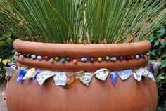 """SBG pin of the day!  Pot jewelery!!!  Can't wait to go through old jewelry and string beads for """"pot necklaces"""".  And then there's the mosaic box full of shards to dive into.  All it takes is a little wire!  Too much fun."""