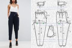 """sewing clothes patterns Tully Pant Sewing Pattern By Style Arc - slim leg elastic """"paper bag"""" waist pant. This is a fabulous slim leg elastic paperbag pant by Style Arc. Sewing pattern for women in sizes 16 Tully Paperbag Pant – Sizes 20 – PDF sti Moda Fashion, Fashion Sewing, Diy Fashion, Ideias Fashion, Dress Sewing Patterns, Sewing Patterns Free, Clothing Patterns, Skirt Patterns, Sewing Pants"""