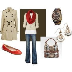 London outfit. Khaki, red, white and denim. Burberry! Love it!