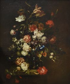 Flowers paintings - Vase of flowers on a stone ledge