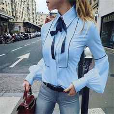 Brand Name: AIEnny Material: Polyester Clothing Length: Regular Style: Casual Fabric Type: Woven Sleeve Length(cm): Full Decoration: Bow Pattern Type: Solid Collar: Turn-down Collar Sleeve Style: lantern Sleeve Model Number: Women Blouse Gender: Women