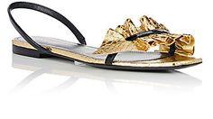 Saint Laurent Nu Pieds Snakeskin & Leather Slingback Sandals - Sandals - 504976775