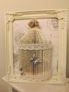 shabby chic bird cage Origami book folding art