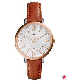 Sometimes a simple style is the perfect finishing touch! With a sleek brown leather strap and beautiful rose gold accents, this Fossil watch is a great workwear accessory.