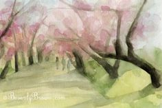 Pink Blossoms Central Park NYC print from an original watercolor painting. Unframed, framed and canvas art prints for sale from $37. © Beverly Brown. www.beverlybrown.com