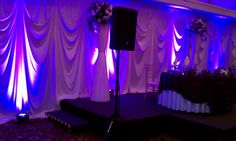 Head table backdrop with purple uprights - Chandler's banquets in Schaumburg Head Table Backdrop, Fabric Backdrop, Drapery, Backdrops, Fancy, Purple, Wall, Walls, Backgrounds