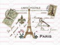 Vintage Shabby French Postkarte Paris 1 DIN A4