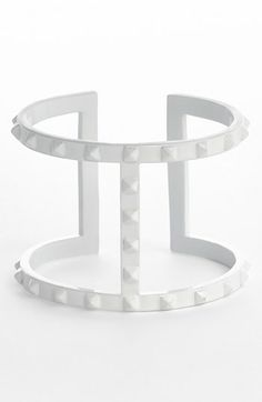 Vince Camuto white studded cuff (more white jewelry here http://chicityfashion.com/white-jewelry/)