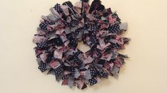 Patriotic Stars n' Stripes Rag Wreath: Custom designed fabric rag wreath to pay tribute with one-of-a-kind goodies! - May Cause Memories www.maycausememories.com