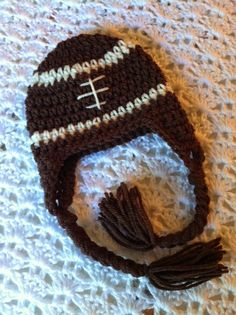 Lakeview Cottage Kids: Crochet Football Earflap Hat FREE Pattern!!! Sizes 0 - 3 Months to Adult!