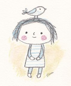 Girl and Bird – Bird Supplies People Illustration, Children's Book Illustration, Character Illustration, Art Illustrations, Cute Drawings, Drawing Sketches, Pencil Sketching, Drawing Faces, Realistic Drawings