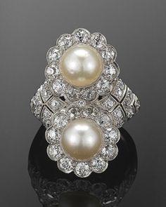 Edwardian Natural Pearl and Diamond Twin Ring, circa 1910