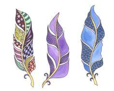 Trio of Zentangled Feathers