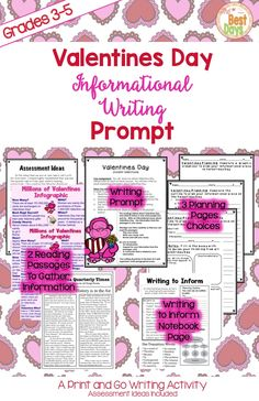 Are you looking to enjoy the Valentine season and still keep to curriculum!  Here's your answer!  This writing prompt focuses on the history and numbers of Valentines Day!  Students will read the prompt and the articles, note take and plan, and write the essay all through exploring Valentines Day.   A Write to Inform notebook page is included!  Get it now at The Best Days!
