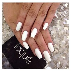 Matte White Nails ❤ liked on Polyvore featuring beauty products and nail care