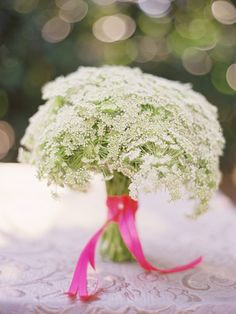 queen anne's lace bouquet.. very very simple and would probably be very cheap! Maybe for the bridesmaids with different colored ribbons.. very simple. elegant.. shabby chic.