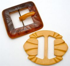 Vintage Pair Belt Buckles Bakelite Hand Carved 2