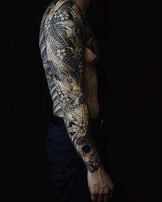 best koi fish tattoo on the sleeve