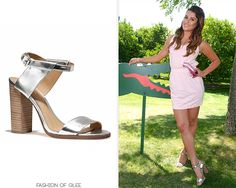 Lea Michele attends day 1 of the Lacoste Beautiful Desert Pool Party at Coachella, Thermal, April 12, 2014 Coach 'Lexey' Heels - $198.00 Worn with: Bing Bang NYC earrings, Lacoste sunglasses, Lacoste dress We've found some more metallic stacked heels, do any of these tickle your fancy?
