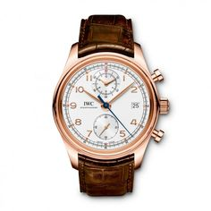 IWC Presents Portuguese Chronograph Classic and Portuguese Tourbillon Hand-Wound Watches Watches Channel Iwc Chronograph, Marine Chronometer, Or Rouge, Iwc Watches, Gold Hands, Luxury Watches For Men, Red Gold, Gold Watch, Portuguese