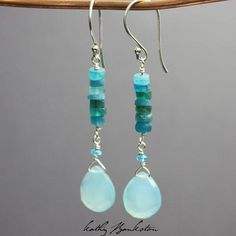 Handmade earrings featuring gorgeous neon blue Apatite beads and Aqua Chalcedony faceted pear briolettes. They are the perfect earring for Summer! The ear wires and all findings are s Wire Jewelry, Jewelry Crafts, Beaded Jewelry, Jewelery, Jewelry Case, Glass Jewelry, Bridal Jewelry, Gemstone Jewelry, Gold Jewelry