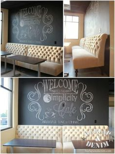 Easy Tutorial for creating Giant Chalk Art- love the chalkboard art and the tufted seating=LOVE Chalkboard Art, Cafe Bar, Chalk Art, Diy Home Decor, Sweet Home, Diys, Wall Decor, Diy Wall, Design Inspiration