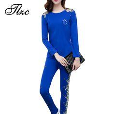 TLZC Hot Lady Suit Clothing Set Hoodies + Sweatpants Plus Size M-4XL Women Casual Suit Floral Pattern Black / Blue
