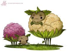Daily Paint #1096. Cauliflower Sheep, Piper Thibodeau on ArtStation at https://www.artstation.com/artwork/NrdkJ