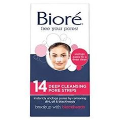 Bioré Original Deep Cleansing Pore Strips 14 Nose Strips for Blackhead Removal with Instant Pore Unclogging features C-Bond Technology Oil-Free Non-Comedogenic Use Blackheads On Nose, Nose Pores, Biotin, Best Pore Strips, Smaller Pores, Pore Cleanser, Target, Skin Care, Bands